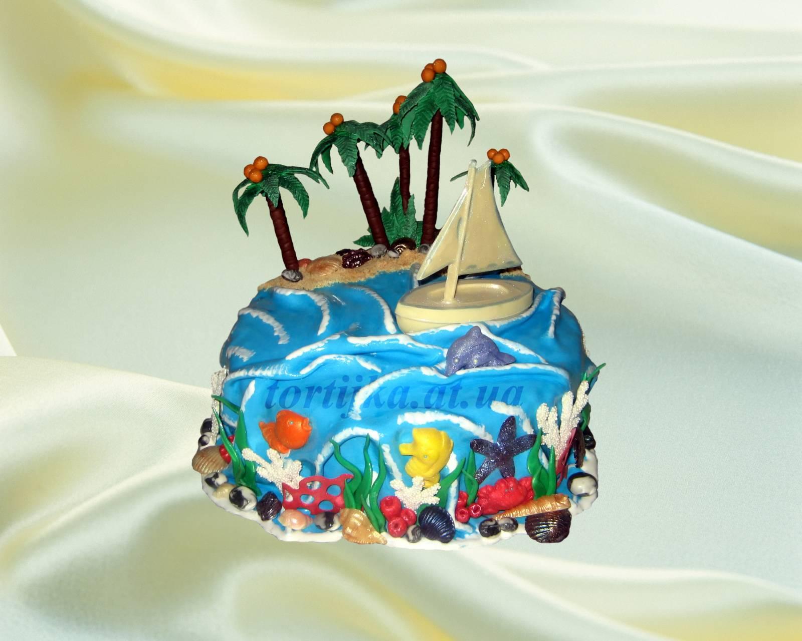 Торт из мастики пляж фото